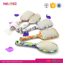 Top selling hair coloring detangling brush wholesale detangle hair brush with flower design