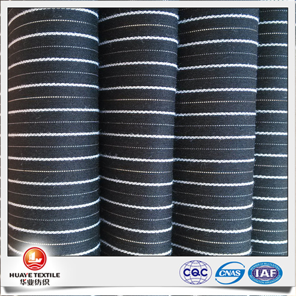 yarn dyed cotton polyester spandex black and white stripe fabric with lurex