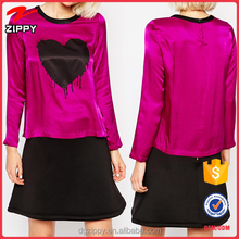 New Arrival Custom Lovely Washable Long Sleeve Mix Bleeding Heart Silk Casual Shirts