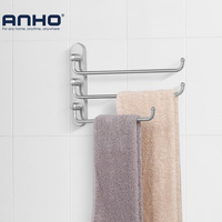 Anho Matte Silver Stainless Steel Wall-Mounted Towel rail Swivel Bars