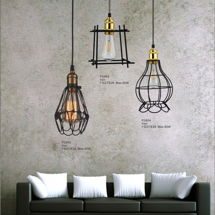 Geometric Cage Black Iron Pendant Lights Modern Drop Lights For Hotel,Home,Kitchen