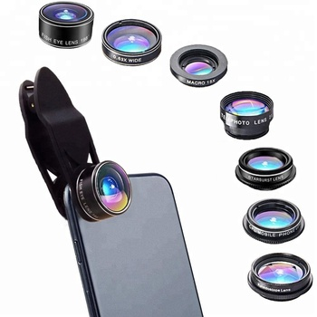 Alibaba universal clip  7 in 1 wide angle macro telescope lens kit for mobile camera lens