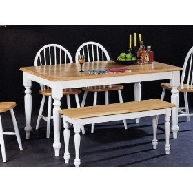 Country Butcher Block Oak White Finish Wood Dining Table