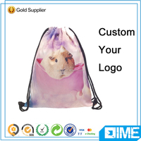 Newest Printed Drawstring Bags Backpack With Flap