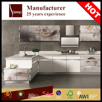 Decoratived tempered glass kitchen & cabinet doors design modular kitchen cabinet color combinations