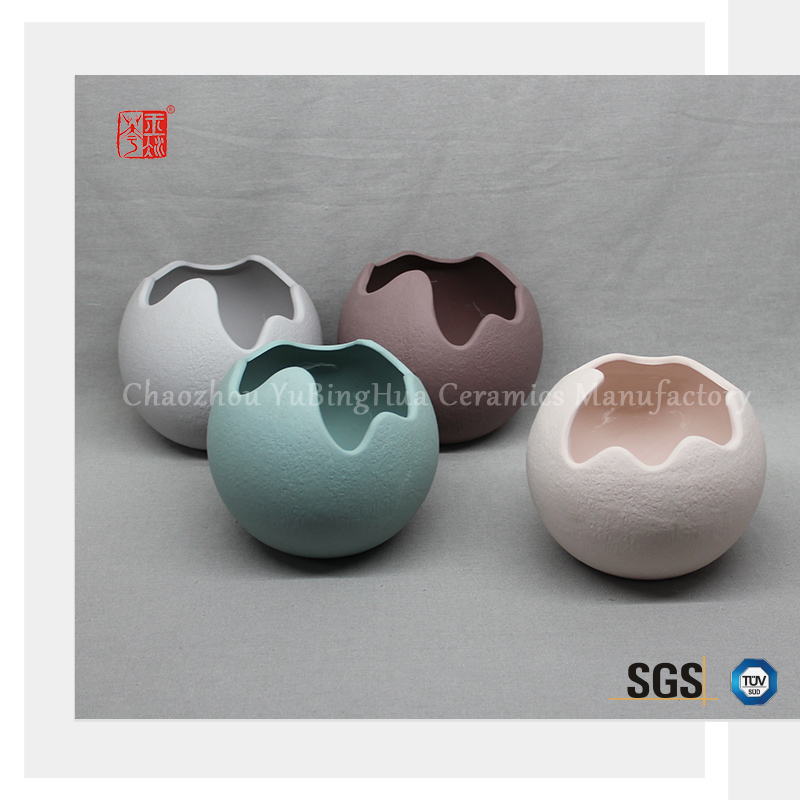 Different shape customized color ceramic egg shell shape flower pot