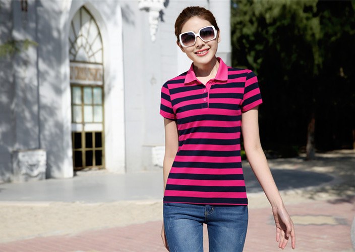 100% Cotton Polo T-shirt various stripe tennis clothes short sleeves for summer gilrs