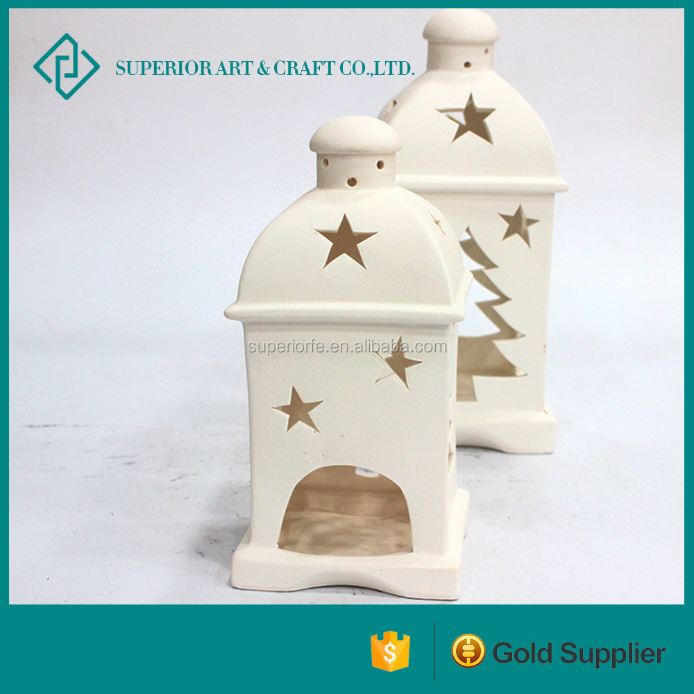 new design ceramic candle house unpainted ceramic christmas houses ceramic christmas village houses for home decoration