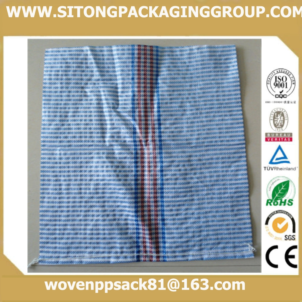 pp woven lattice grain bags sacks raffia with blue & red line