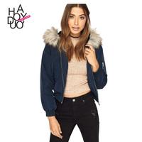 HAODUOYI Autumn Winter Women Coats Long Sleeve Faux Fur Hood Parka Cotton Coat Wholesale