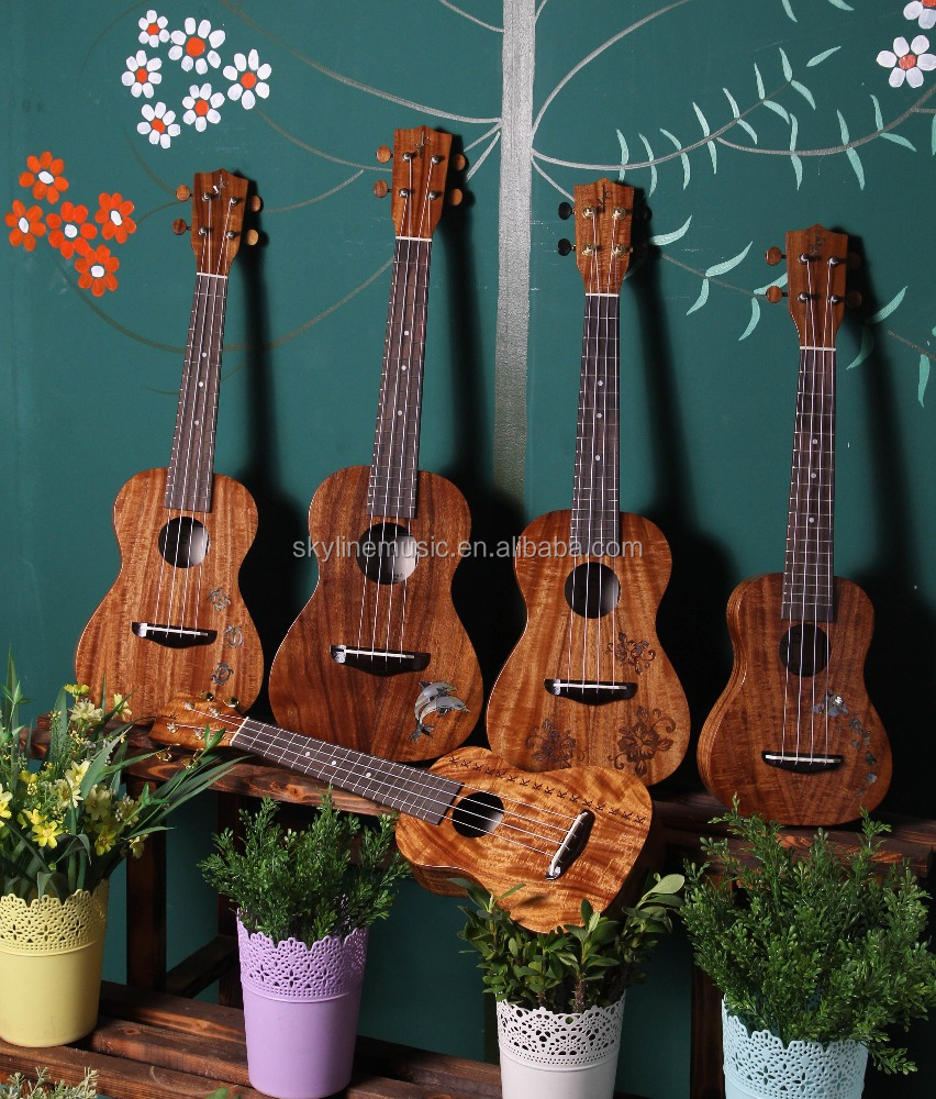 Hand maple solid koa ukulele, have size in soprano, concert and tenor