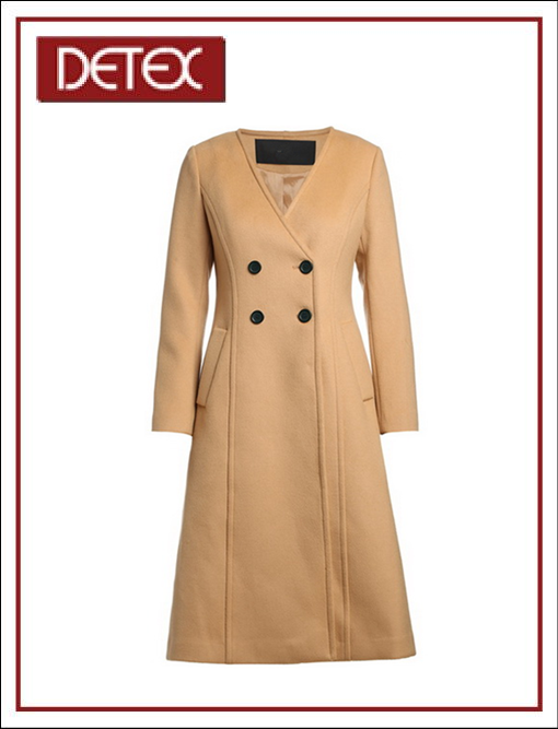 Women Camel Coachman V Neck A Style Long Coat for Winter