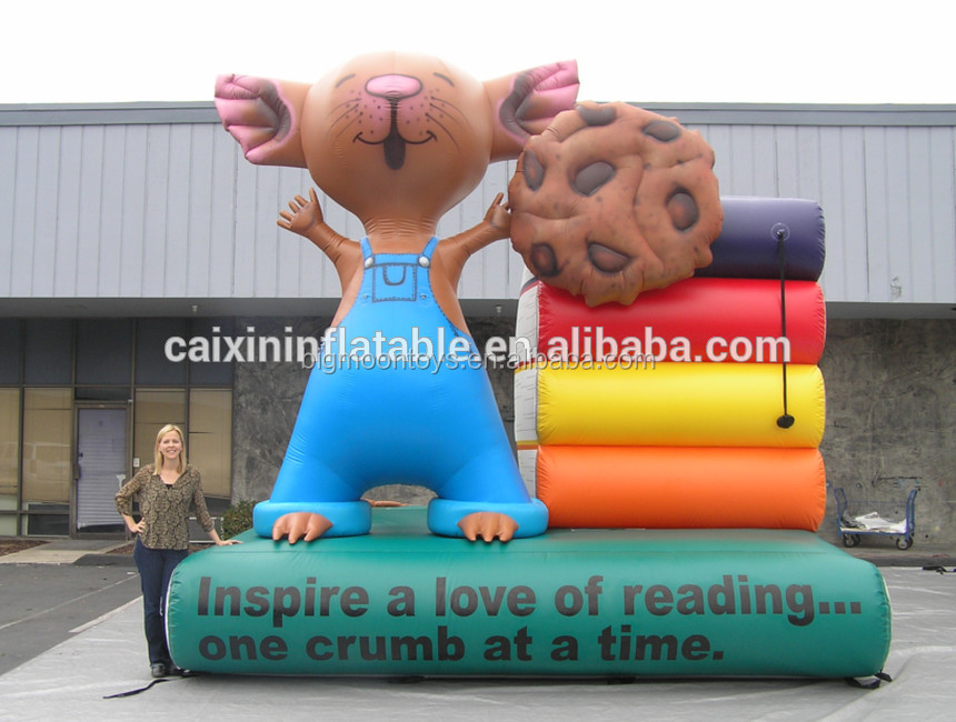 Customized inflatable books for reading event/ inflatable mouse with books