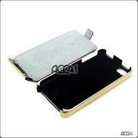 Brown Color Pattern Golden Plating Frame Flip Genuine Leather Case for iPhone 4/4G P-iPHN4GHCEX047