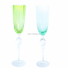 hand blown decorative colored champagne tulip glass with beaded stem for wedding