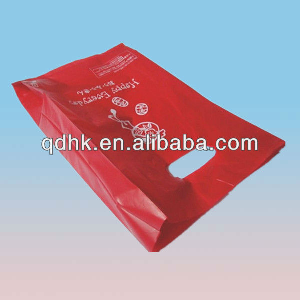 red color printed HDPE plastic shopping bag