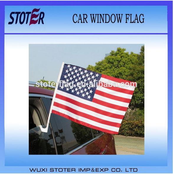 promotional car window flag with customerized , mesh knitted polyester car flag with plastic pole