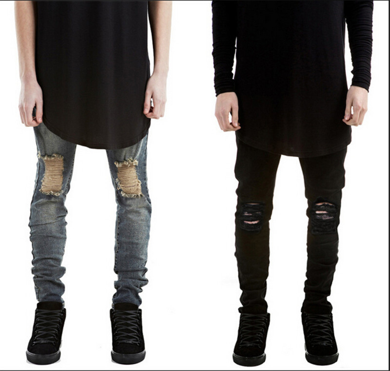 New 2015 Fashion Summer Style Mens Skinny Ripped Robin Jeans Men Street Slim Fit Destroyed Black Blue Denim Jeans Pants