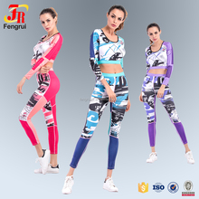 2017 New Appreal Sexy Crop Top Combines With Women 2 Piece Set Full Sublimation Print Suit Sets & Suits For Running