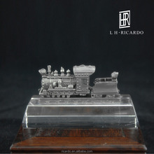 Engraved exquisite pure tin locomotive,handmade collection of ornaments