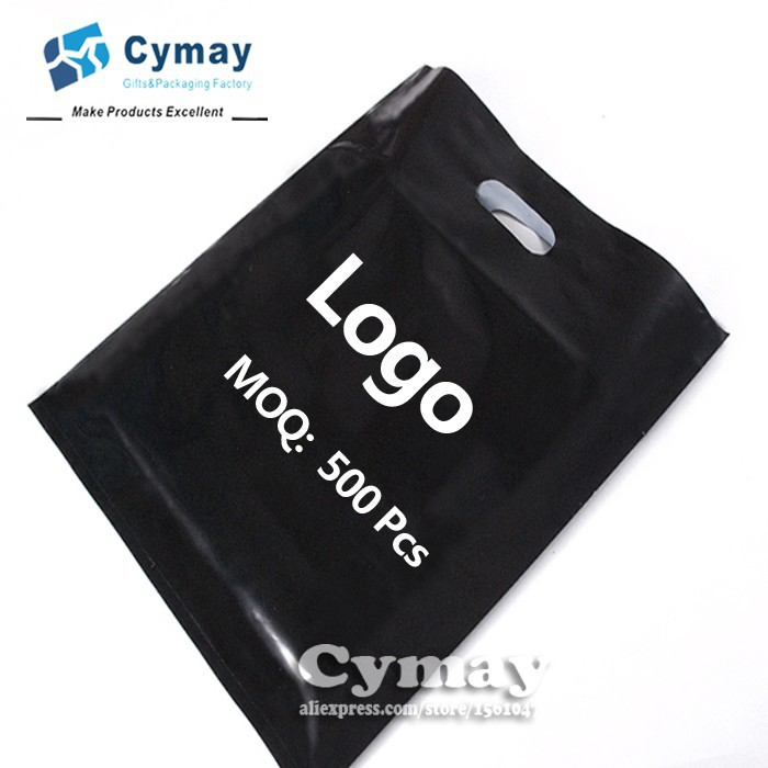 Custom print logo plastic <strong>bag</strong> MOQ 500Pcs white/black all colors gift PE <strong>bag</strong> wholesale