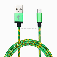 2017 Wholesale price colorful aluminium alloy nylon braided usb cable for iphone with 2.1A