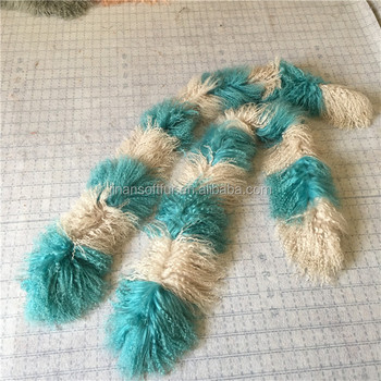 Cheap customized large size Real tibetan sheep fur scarf for lady