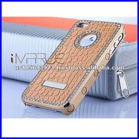 for iphone4/4s real leather rihnestone cell phone case with metalic side