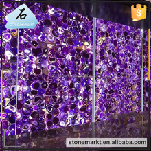 Natural amethyst semiprecious stone slabs for club counter backlit