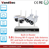 Vandsec New 4CH Wifi NVR kit Built-in Router 5.8G Strong Wi-Fi signal Wireless IP Camera System Home Security CCTV Camera System