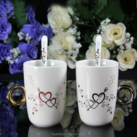 New product 11oz creative unique shape ceramic coffee mugs with diamond ring handle
