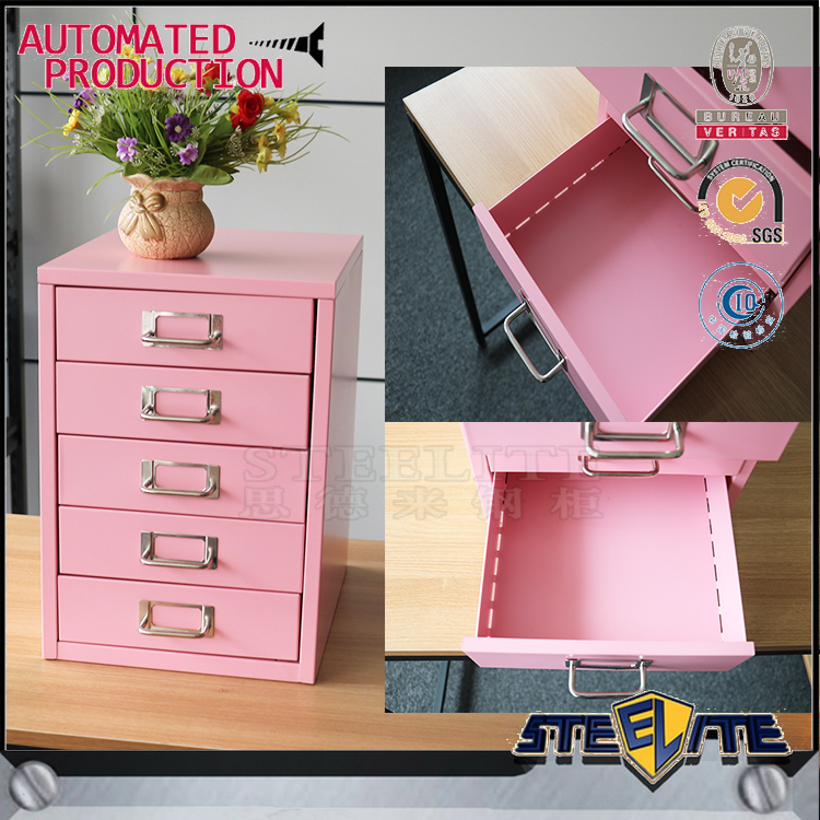 half size lowes smart mini 5-drawer pink file cabinet