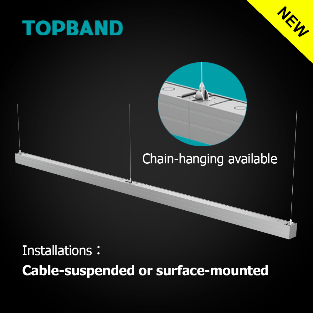 4ft 1200mm Streamline I LED Linear DLC ETL CE certified Dimmable Light for Office Lighting with CE RoHs Cable Suspended