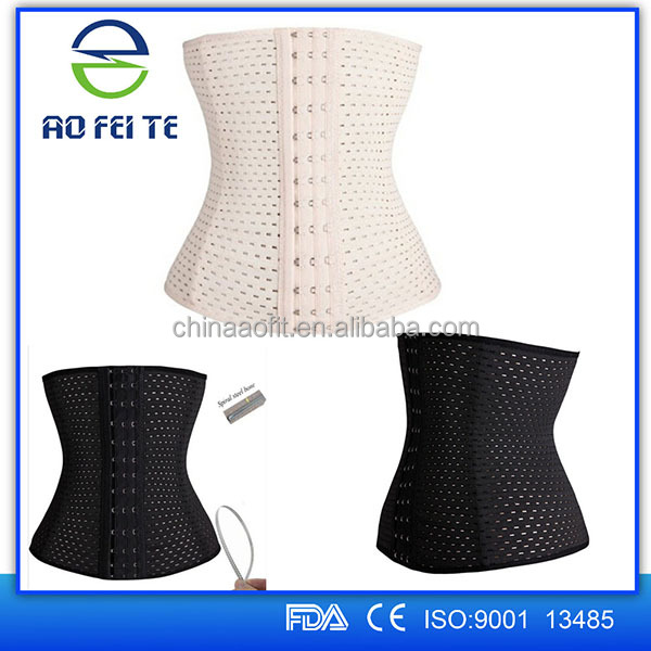 2016 Aofeite wholesale 9 steel bones waist training corset with zipper&clips