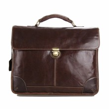 Oil Brown Genuine Top Layer Cowhide Leather Crossbody Briefcase Bag For Men