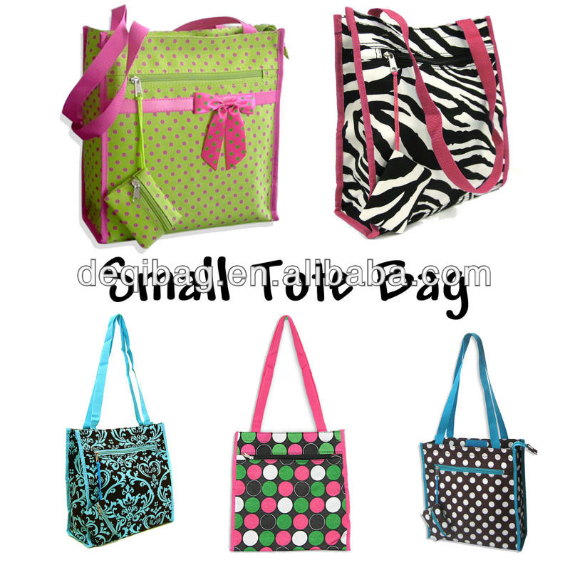 Small Size PolkaDots, Damask, or Zebra Print Shopping Tote Reusable Grocery Bag handbag tote bag