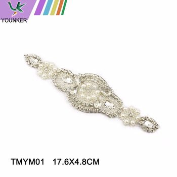 Hot sale pearl beaded crystal rhinestone bridal applique patch