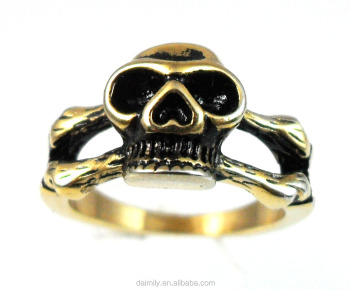 Daimily Jewelry Factory Wholesale Stainless Steel Gold Skull Ring DM 007