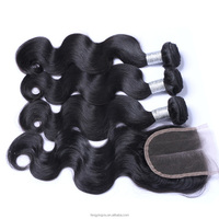 FYX 100 Human Hair Weave Brands Body Wave Middle Part Best Sellling Hair Extension With Closure