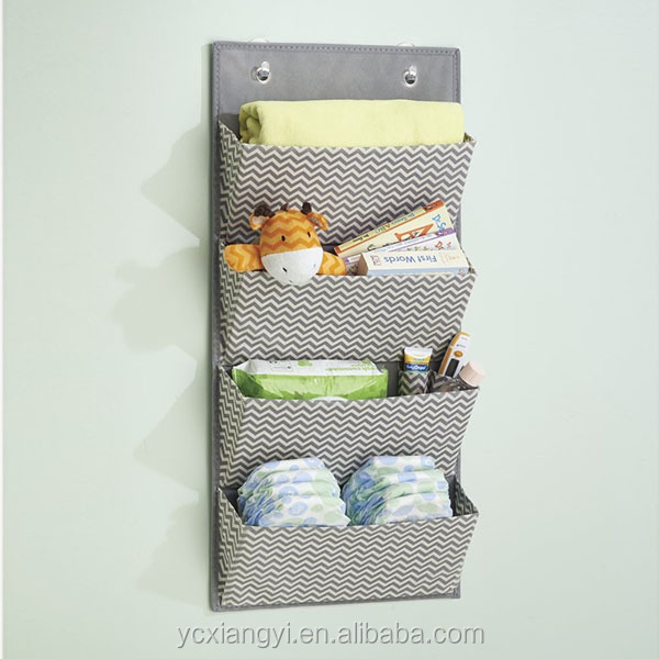 4- Layers Wall Mount/Over Door Fabric Closet Storage Organizer, Household Hanging Organizer for Key, Bag, Sundries