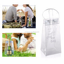 Wholesale Cheap Vinyl Clear PVC Wine Bags With Handle Champagne Beer Ice Cool Pouch Bag