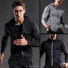 Fashion Men's Compression Long Sleeve Shirts Zipper Blank Hoodies GYM Fitness Clothing