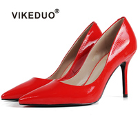 genuine leather sexy style ladies dress shoes small size red women pump heels pointed toes