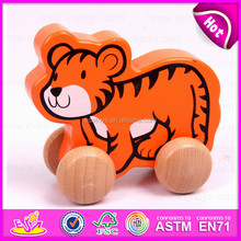 2015 Cheap Pull and push toy for kids,Children cartoon animal pull line toy,Mini funny wooden toy pull cart with string W05B077