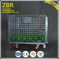 European Type Metal Pallet Cage Steel Wire Mesh Rolling Storage Foldable Mental Container