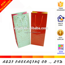 gold printing high quality single bottle wine paper bag with handle
