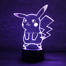 Pikachu 3D LED Night Light Illusion lamp Pokemon go Table Lamp