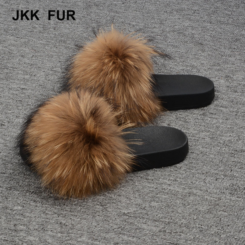 Women's Fashion Raccoon Fur Soft Sandals Wholesale Women Slippers Natural Color Fur <strong>Slides</strong>