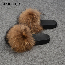 Women's Fashion Raccoon Fur Soft Sandals Wholesale Women Slippers Natural Color Fur Slides