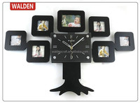 7 Pictures Tree Shaped Decorative Photo Picture Frame Wall Clock